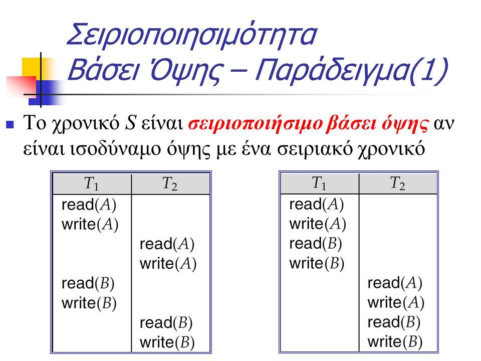 Το χρονικό S είναι σειριοποιήσιμο βάσει όψης αν είναι ισοδύναμο όψης με ένα σειριακό χρονικό Σειριοποιησιμότητα Βάσει Όψης – Παράδειγμα(1)
