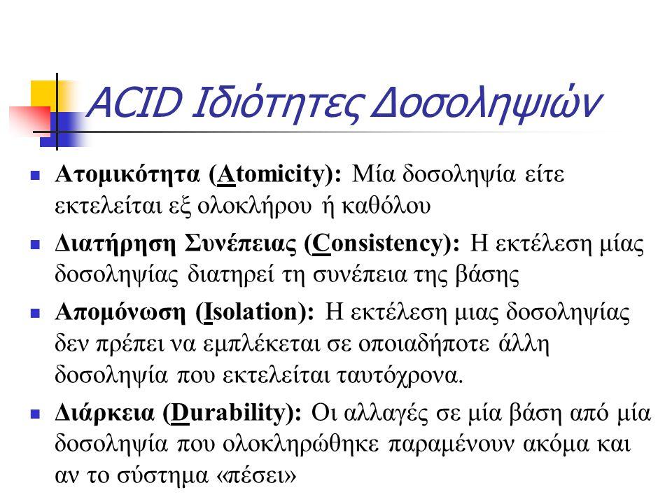 ACID Ιδιότητες Δοσοληψιών Ατομικότητα (Atomicity): Μία δοσοληψία είτε εκτελείται εξ ολοκλήρου ή καθόλου Διατήρηση Συνέπειας (Consistency): Η εκτέλεση μίας δοσοληψίας διατηρεί τη συνέπεια της βάσης Απομόνωση (Isolation): Η εκτέλεση μιας δοσοληψίας δεν πρέπει να εμπλέκεται σε οποιαδήποτε άλλη δοσοληψία που εκτελείται ταυτόχρονα.