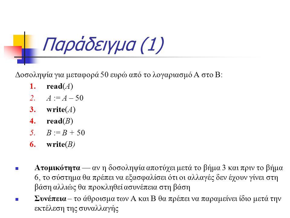 Παράδειγμα (1) Δοσοληψία για μεταφορά 50 ευρώ από το λογαριασμό Α στο Β: 1.read(A) 2.A := A – 50 3.write(A) 4.read(B) 5.B := B + 50 6.write(B) Ατομικότητα — αν η δοσοληψία αποτύχει μετά το βήμα 3 και πριν το βήμα 6, το σύστημα θα πρέπει να εξασφαλίσει ότι οι αλλαγές δεν έχουν γίνει στη βάση αλλιώς θα προκληθεί ασυνέπεια στη βάση Συνέπεια – το άθροισμα των Α και Β θα πρέπει να παραμείνει ίδιο μετά την εκτέλεση της συναλλαγής