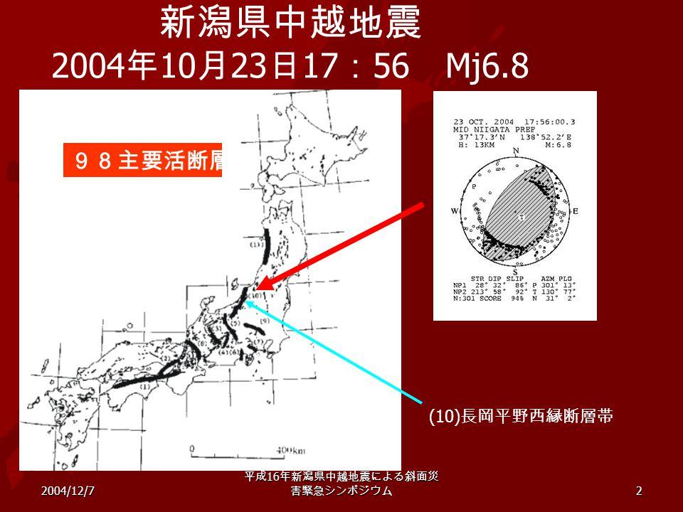 2004/12/7 平成 16 年新潟県中越地震による斜面災 害緊急シンポジウム 2 新潟県中越地震 2004 年 10 月 23 日 17 : 56 Mj6.8 98主要活断層 (10) 長岡平野西縁断層帯