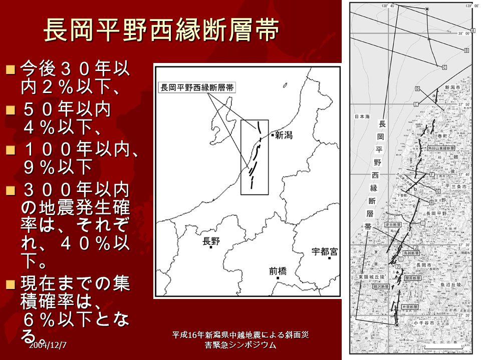 2004/12/7 平成 16 年新潟県中越地震による斜面災 害緊急シンポジウム 21長岡平野西縁断層帯 今後30年以 内2%以下、 今後30年以 内2%以下、 50年以内 4%以下、 50年以内 4%以下、 100年以内、 9%以下 100年以内、 9%以下 300年以内 の地震発生確 率は、それ
