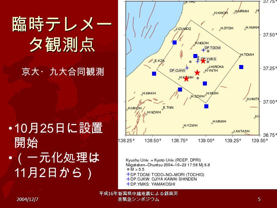 2004/12/7 平成 16 年新潟県中越地震による斜面災 害緊急シンポジウム 5 臨時テレメー タ観測点 京大・九大合同観測 10 月 25 日に設置 開始 (一元化処理は 11 月 2 日から)