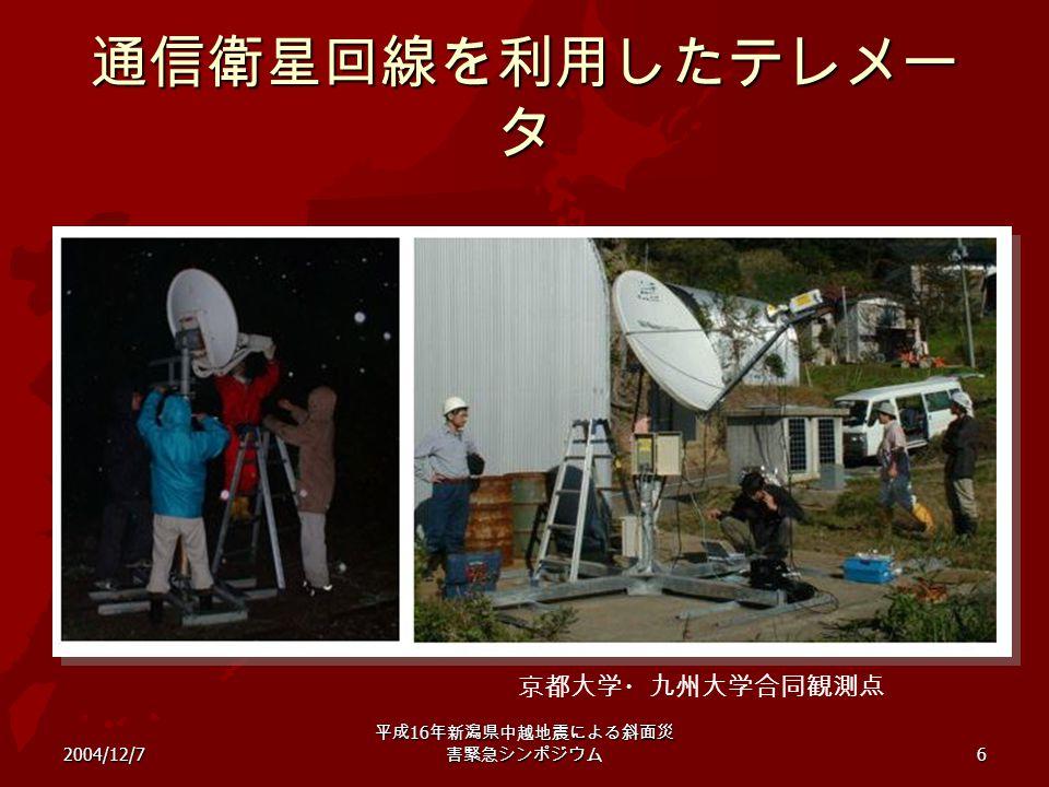 2004/12/7 平成 16 年新潟県中越地震による斜面災 害緊急シンポジウム 6 通信衛星回線を利用したテレメー タ 京都大学・九州大学合同観測点