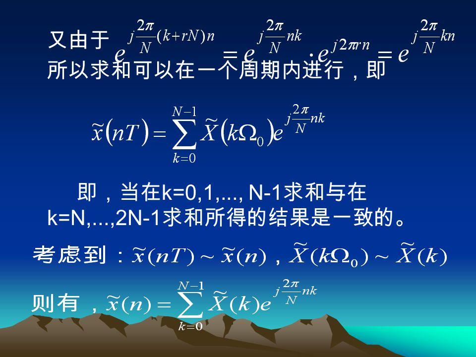 因 是离散的,所以 应是周期的。 ,代入 而且,其周期为 ,因此 应是 N 点的周期序列。