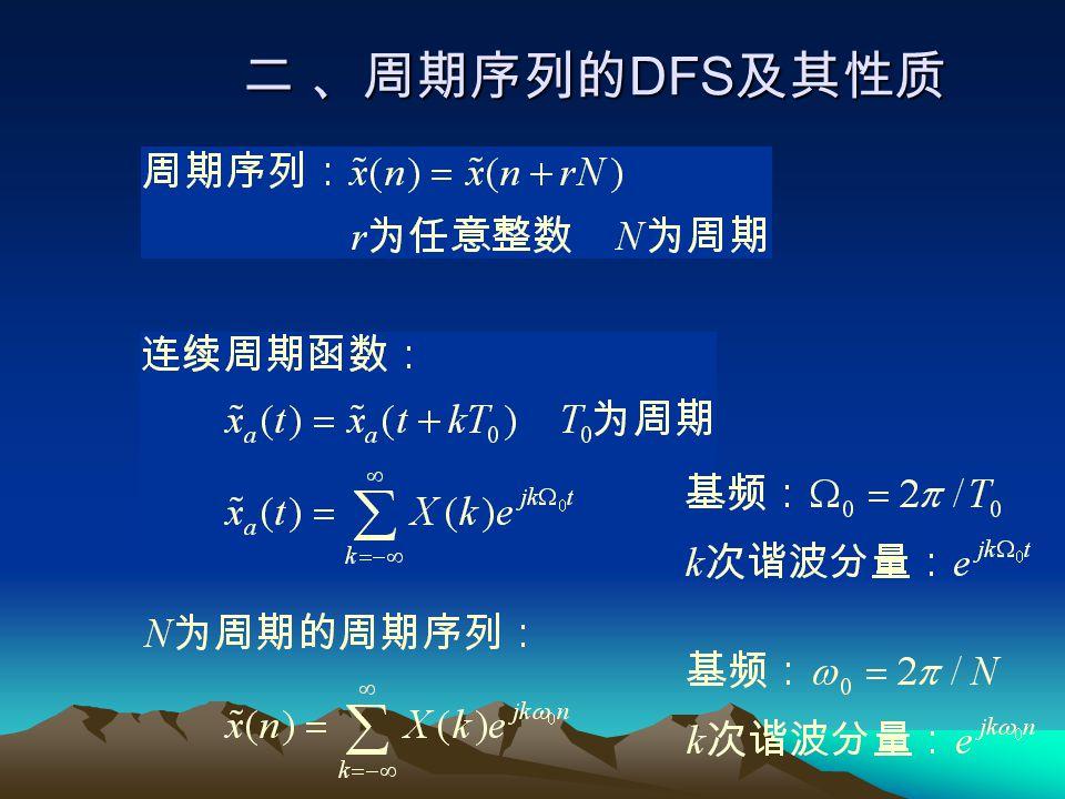 又由于 所以求和可以在一个周期内进行,即 即,当在 k=0,1,..., N-1 求和与在 k=N,...,2N-1 求和所得的结果是一致的。