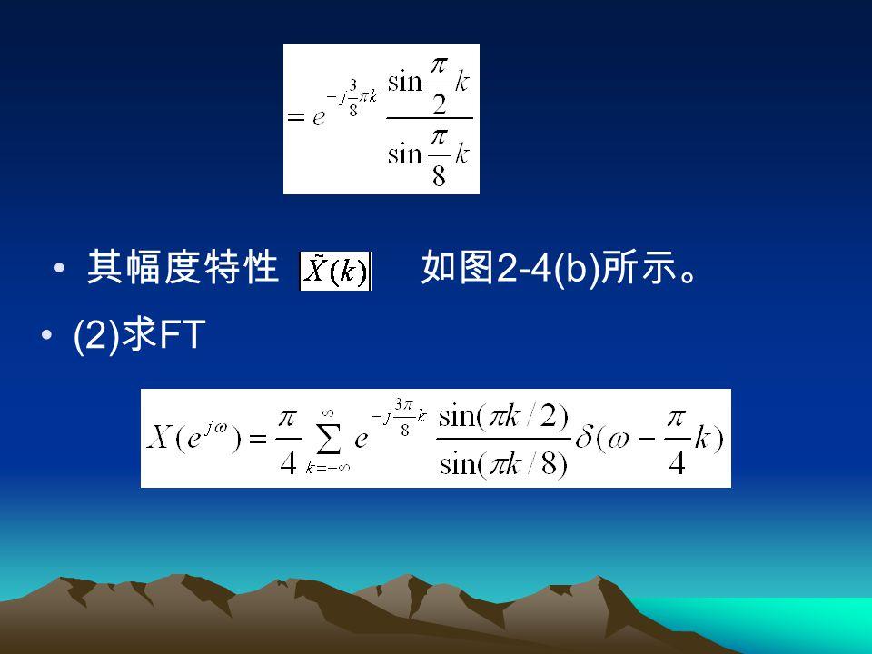 例 2.3.1 设 x(n)=R4(n) ,将 x(n) 以 N=8 为周 期进行周期延拓得到的序列 ( 如图 2-4(a) 所 示 ) ,求序列的 DFS 与 FT 。 解: (1) 求 DFS