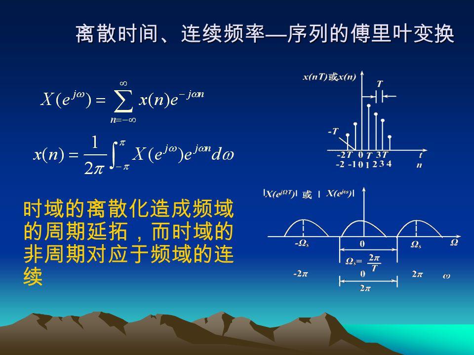 离散时间、连续频率 — 序列的傅里叶变换 时域的离散化造成频域 的周期延拓,而时域的 非周期对应于频域的连 续