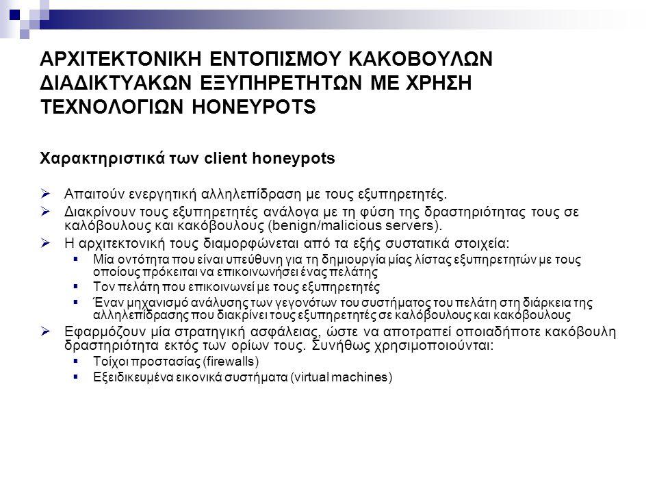 ΑΡΧΙΤΕΚΤΟΝΙΚΗ ΕΝΤΟΠΙΣΜΟΥ ΚΑΚΟΒΟΥΛΩΝ ΔΙΑΔΙΚΤΥΑΚΩΝ ΕΞΥΠΗΡΕΤΗΤΩΝ ΜΕ ΧΡΗΣΗ ΤΕΧΝΟΛΟΓΙΩΝ HONEYPOTS Capture-HPC Client Honeypot/Honeyclient (1/3)  Είναι ένα υψηλής αλληλεπίδρασης και ανοιχτού κώδικα client honeypot, το οποίο αναπτύχθηκε στο Victoria University του Wellington από τους Christian Seifert και Ramon Steenson στα πλαίσια του Honeynet Project.