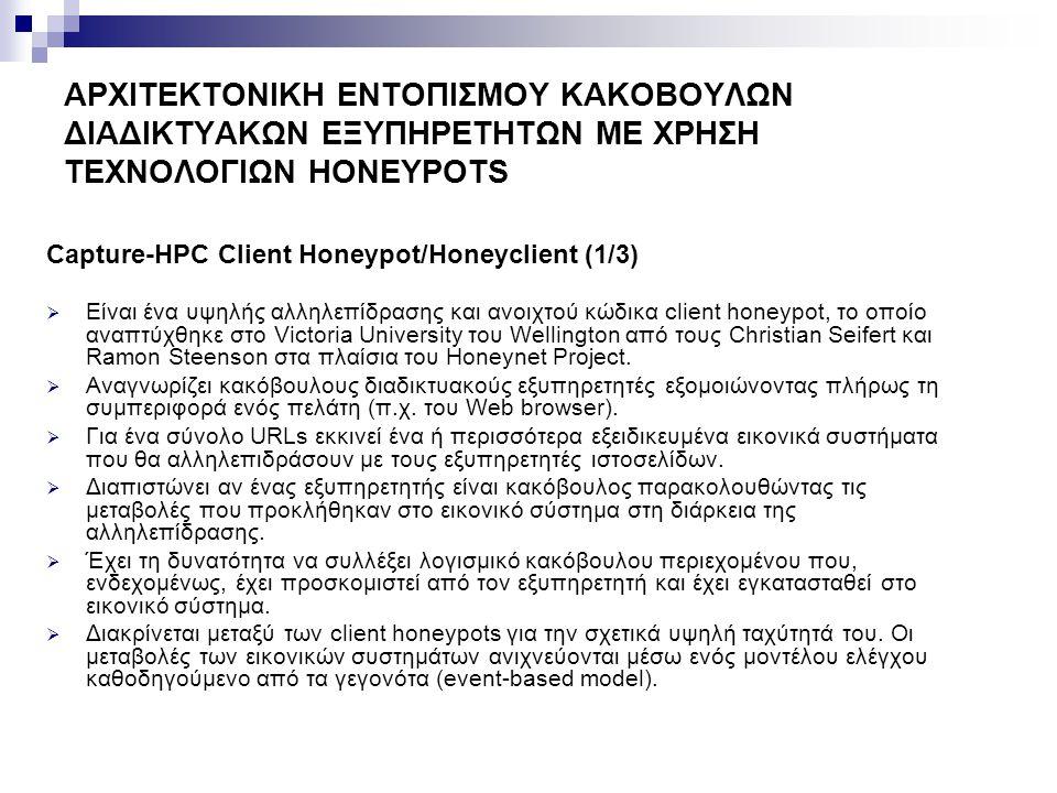 ΑΡΧΙΤΕΚΤΟΝΙΚΗ ΕΝΤΟΠΙΣΜΟΥ ΚΑΚΟΒΟΥΛΩΝ ΔΙΑΔΙΚΤΥΑΚΩΝ ΕΞΥΠΗΡΕΤΗΤΩΝ ΜΕ ΧΡΗΣΗ ΤΕΧΝΟΛΟΓΙΩΝ HONEYPOTS Capture-HPC Client Honeypot/Honeyclient (2/3)  Η αρχιτεκτονική του δομείται από:  Το πρόγραμμα του Capture Server  Εκκινεί και διακόπτει τη λειτουργία των Capture Clients.