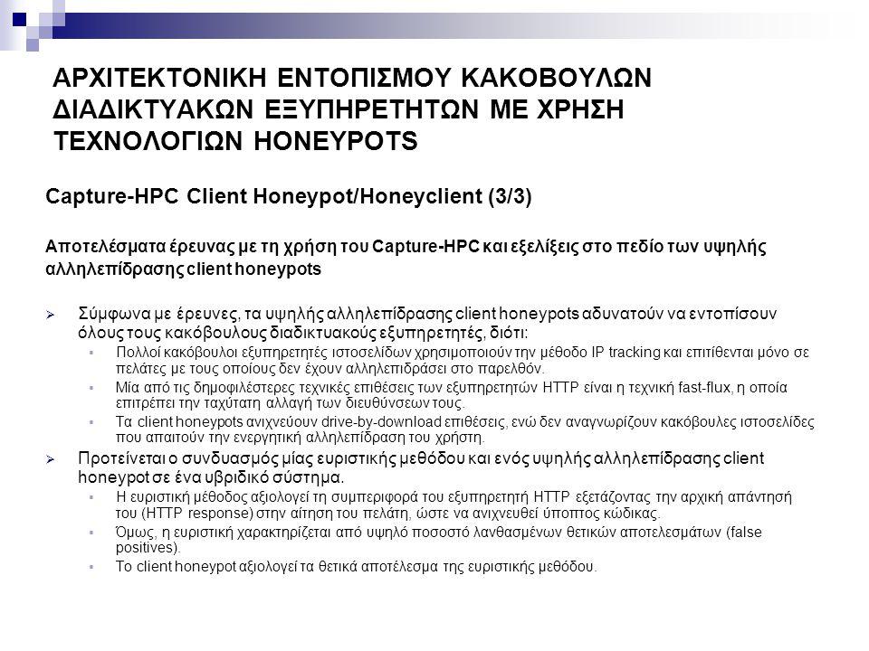 ΑΡΧΙΤΕΚΤΟΝΙΚΗ ΕΝΤΟΠΙΣΜΟΥ ΚΑΚΟΒΟΥΛΩΝ ΔΙΑΔΙΚΤΥΑΚΩΝ ΕΞΥΠΗΡΕΤΗΤΩΝ ΜΕ ΧΡΗΣΗ ΤΕΧΝΟΛΟΓΙΩΝ HONEYPOTS Σχετική επιστημονική δραστηριότητα στο πεδίο των υψηλής αλληλεπίδρασης client honeypots  MITRE's HoneyClient  Το πρώτο υψηλής αλληλεπίδρασης και ανοιχτού κώδικα client honeypot.