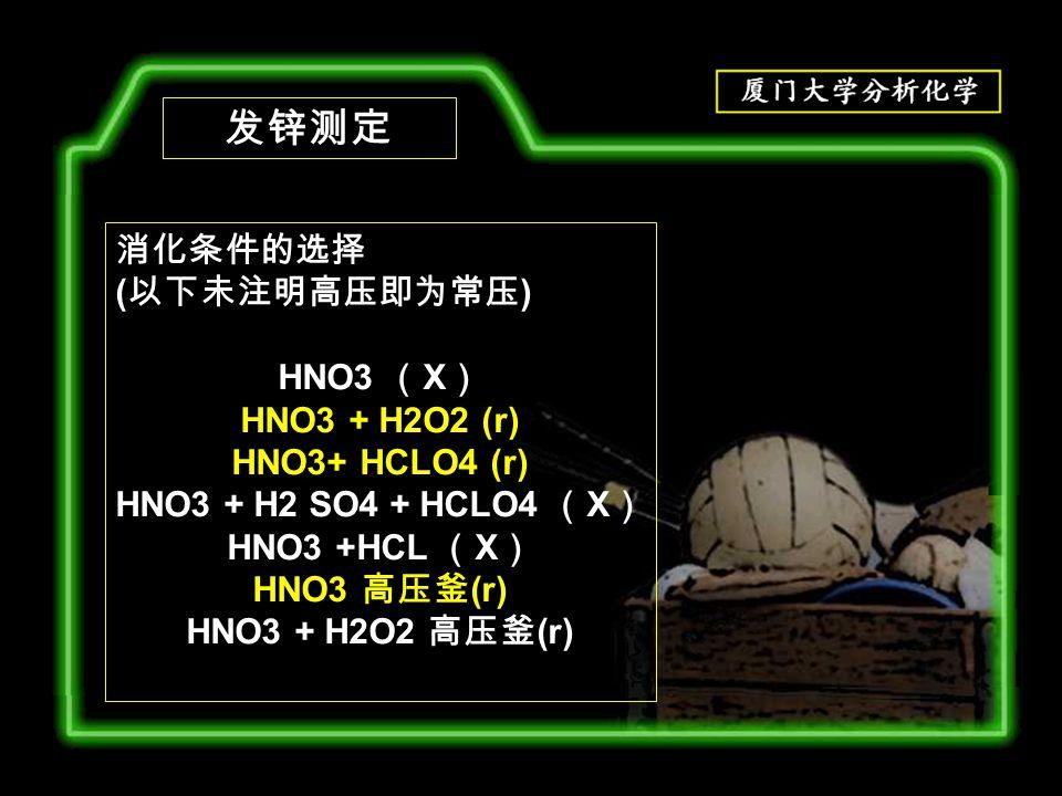 发锌测定 消化条件的选择 ( 以下未注明高压即为常压 ) HNO3 ( X ) HNO3 + H2O2 (r) HNO3+ HCLO4 (r) HNO3 + H2 SO4 + HCLO4 ( X ) HNO3 +HCL ( X ) HNO3 高压釜 (r) HNO3 + H2O2 高压釜 (r)