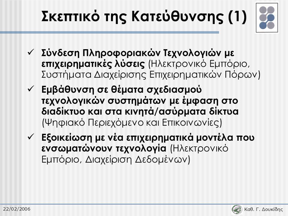 Καθ. Γ. Δουκίδης 22/02/2006 Σκεπτικό της Κατεύθυνσης (1) Σύνδεση Πληροφοριακών Τεχνολογιών με επιχειρηματικές λύσεις (Ηλεκτρονικό Εμπόριο, Συστήματα Δ
