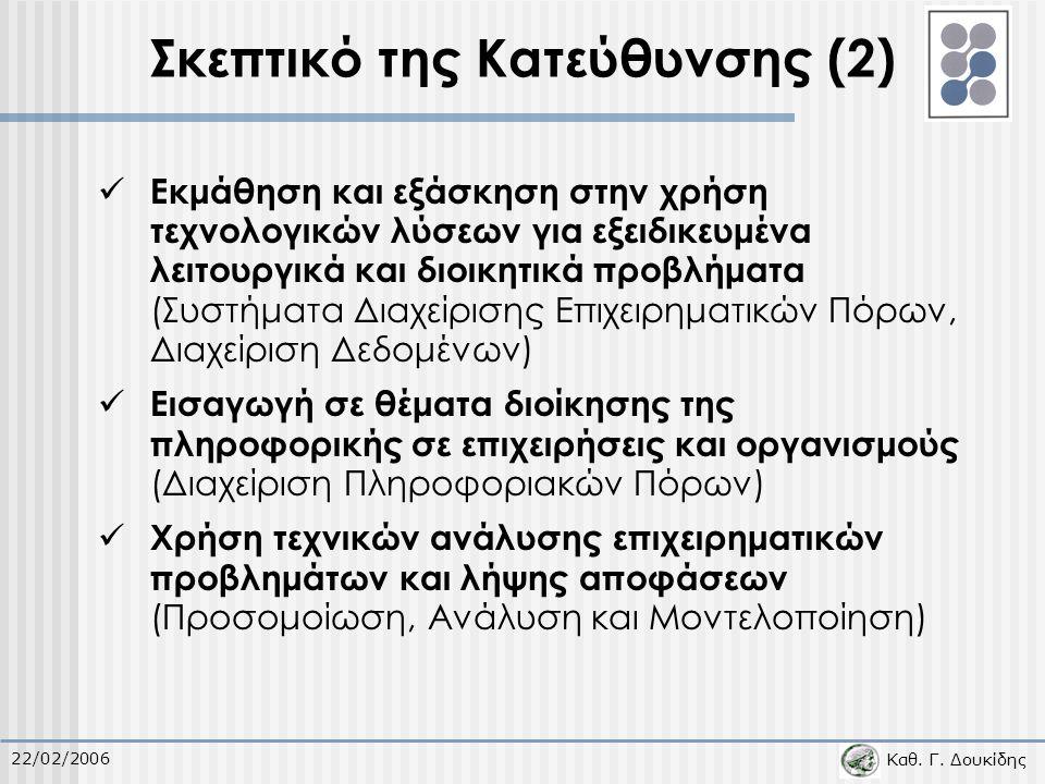 Καθ. Γ. Δουκίδης 22/02/2006 Σκεπτικό της Κατεύθυνσης (2) Εκμάθηση και εξάσκηση στην χρήση τεχνολογικών λύσεων για εξειδικευμένα λειτουργικά και διοικη