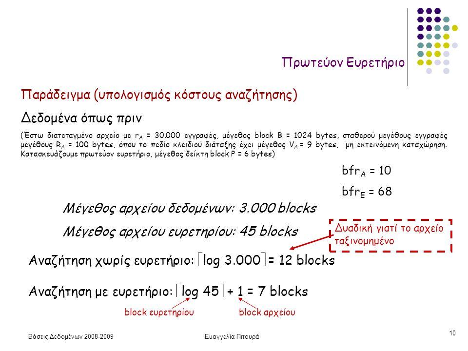 Βάσεις Δεδομένων 2008-2009Ευαγγελία Πιτουρά 10 Πρωτεύον Ευρετήριο Παράδειγμα (υπολογισμός κόστους αναζήτησης) Δεδομένα όπως πριν (Έστω διατεταγμένο αρ