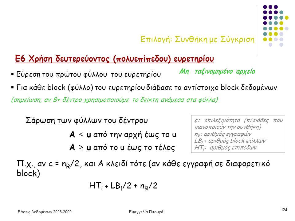 Βάσεις Δεδομένων 2008-2009Ευαγγελία Πιτουρά 124 Επιλογή: Συνθήκη με Σύγκριση Ε6 Χρήση δευτερεύοντος (πολυεπίπεδου) ευρετηρίου Α  u από το u έως το τέ