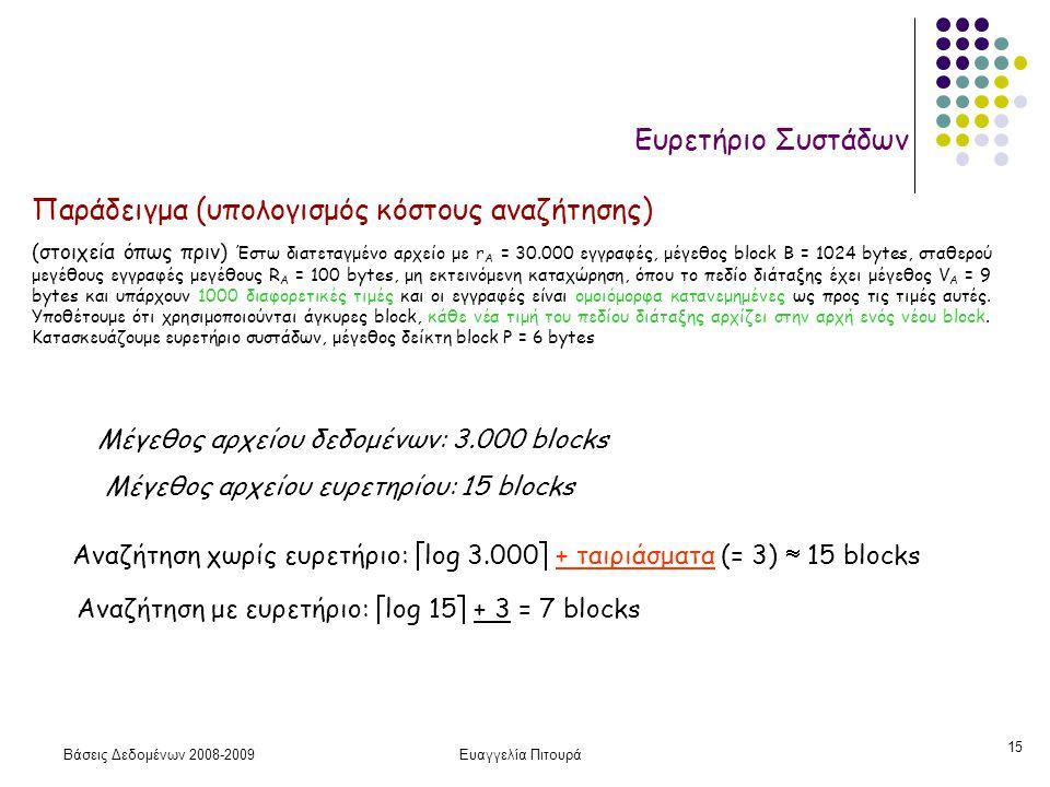 Βάσεις Δεδομένων 2008-2009Ευαγγελία Πιτουρά 15 Ευρετήριο Συστάδων Μέγεθος αρχείου δεδομένων: 3.000 blocks Μέγεθος αρχείου ευρετηρίου: 15 blocks Αναζήτ