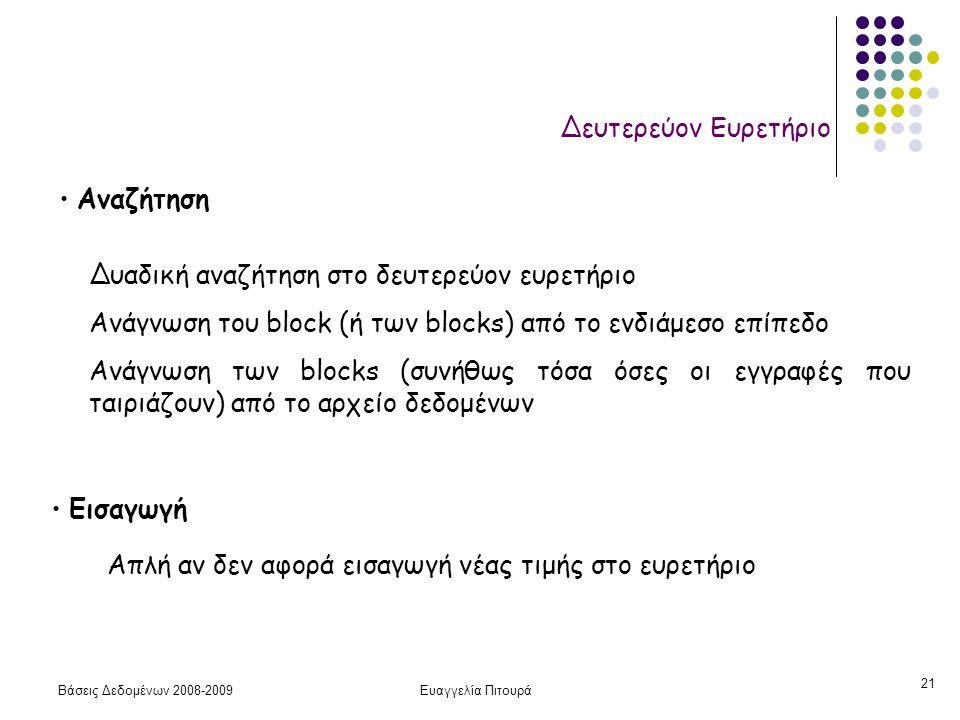 Βάσεις Δεδομένων 2008-2009Ευαγγελία Πιτουρά 21 Δευτερεύον Ευρετήριο Αναζήτηση Δυαδική αναζήτηση στο δευτερεύον ευρετήριο Ανάγνωση του block (ή των blo