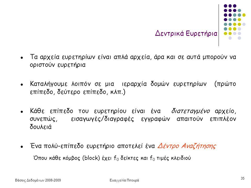 Βάσεις Δεδομένων 2008-2009Ευαγγελία Πιτουρά 35 l Τα αρχεία ευρετηρίων είναι απλά αρχεία, άρα και σε αυτά μπορούν να οριστούν ευρετήρια l Καταλήγουμε λ