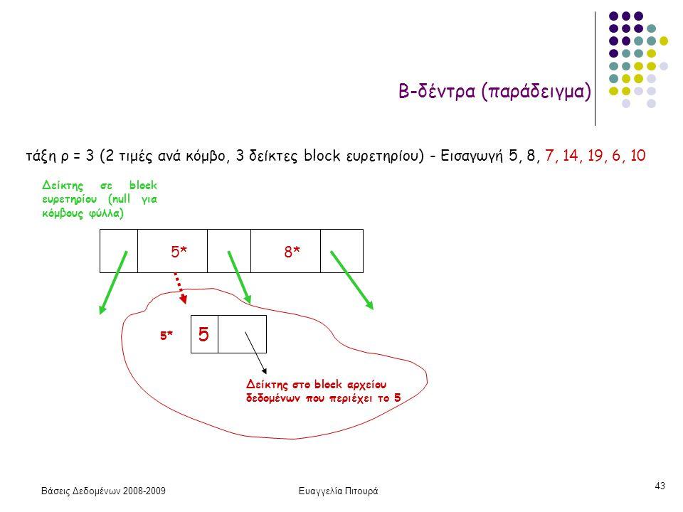 Βάσεις Δεδομένων 2008-2009Ευαγγελία Πιτουρά 43 Β-δέντρα (παράδειγμα) τάξη ρ = 3 (2 τιμές ανά κόμβο, 3 δείκτες block ευρετηρίου) - Εισαγωγή 5, 8, 7, 14