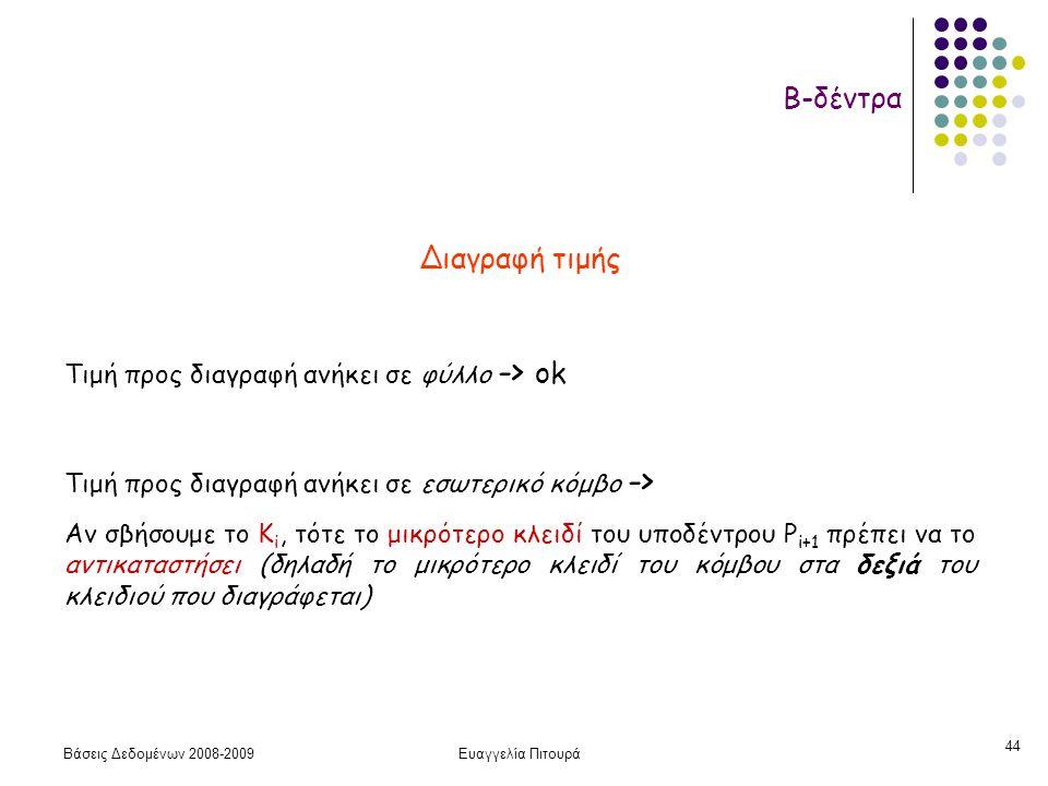 Βάσεις Δεδομένων 2008-2009Ευαγγελία Πιτουρά 44 Β-δέντρα Διαγραφή τιμής Τιμή προς διαγραφή ανήκει σε φύλλο -> ok Τιμή προς διαγραφή ανήκει σε εσωτερικό