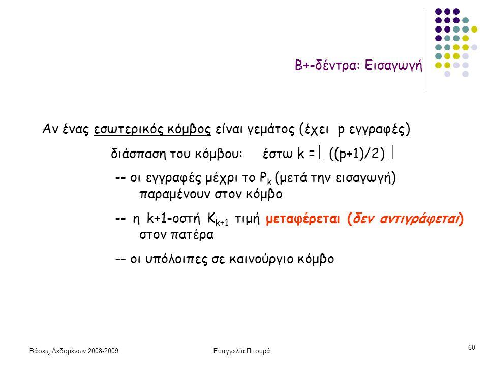 Βάσεις Δεδομένων 2008-2009Ευαγγελία Πιτουρά 60 Β+-δέντρα: Εισαγωγή Αν ένας εσωτερικός κόμβος είναι γεμάτος (έχει p εγγραφές) διάσπαση του κόμβου: έστω
