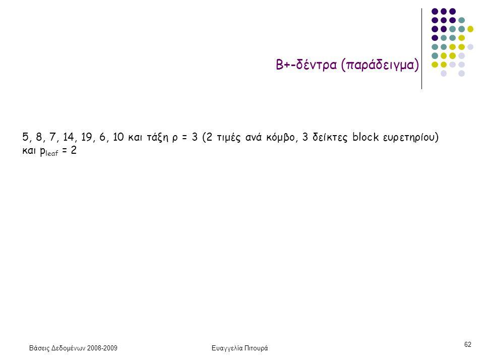 Βάσεις Δεδομένων 2008-2009Ευαγγελία Πιτουρά 62 Β+-δέντρα (παράδειγμα) 5, 8, 7, 14, 19, 6, 10 και τάξη ρ = 3 (2 τιμές ανά κόμβο, 3 δείκτες block ευρετη