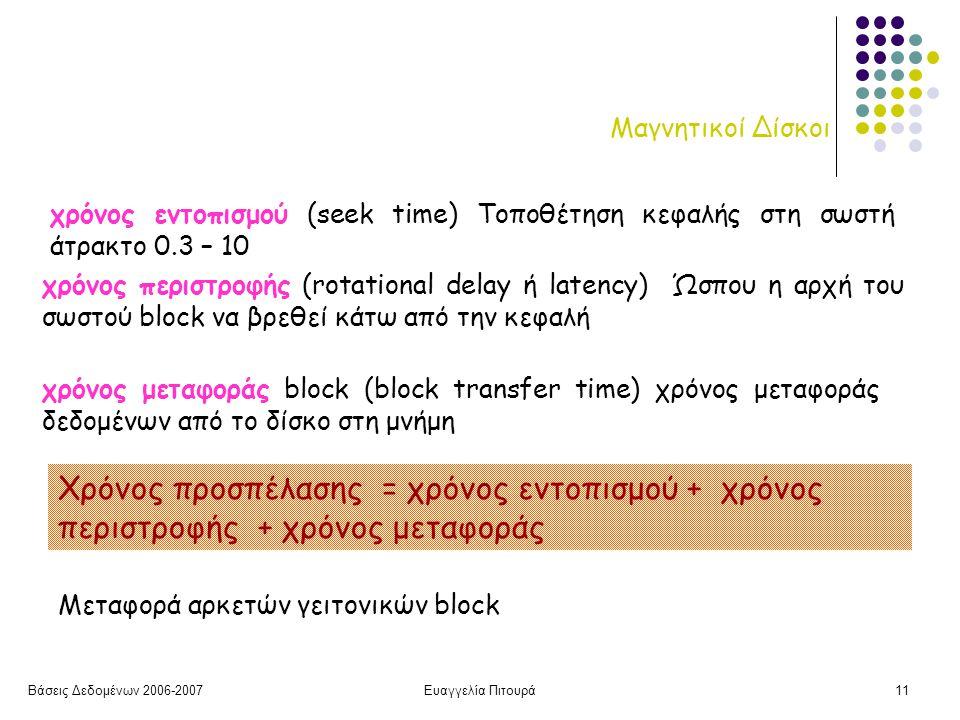 Βάσεις Δεδομένων 2006-2007Ευαγγελία Πιτουρά11 Μαγνητικοί Δίσκοι χρόνος εντοπισμού (seek time) Τοποθέτηση κεφαλής στη σωστή άτρακτο 0.3 – 10 χρόνος περιστροφής (rotational delay ή latency) Ώσπου η αρχή του σωστού block να βρεθεί κάτω από την κεφαλή χρόνος μεταφοράς block (block transfer time) χρόνος μεταφοράς δεδομένων από το δίσκο στη μνήμη Μεταφορά αρκετών γειτονικών block Χρόνος προσπέλασης = χρόνος εντοπισμού + χρόνος περιστροφής + χρόνος μεταφοράς