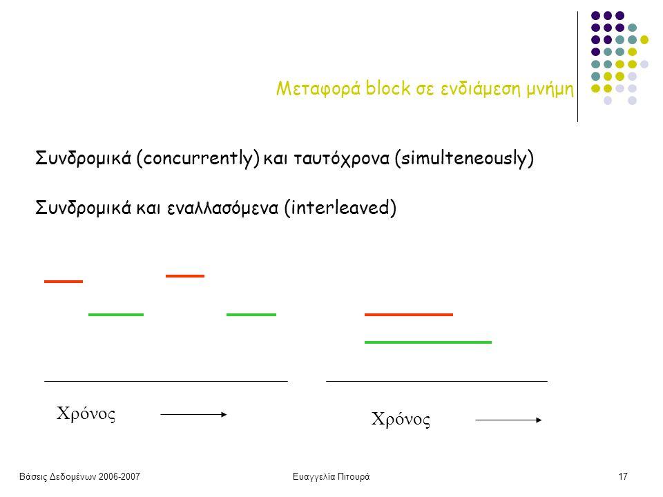 Βάσεις Δεδομένων 2006-2007Ευαγγελία Πιτουρά17 Μεταφορά block σε ενδιάμεση μνήμη Συνδρομικά και εναλλασόμενα (interleaved) Συνδρομικά (concurrently) και ταυτόχρονα (simulteneously) Χρόνος