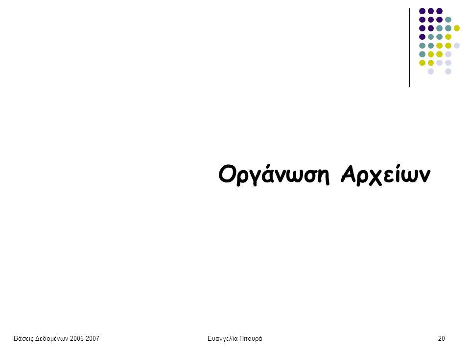 Βάσεις Δεδομένων 2006-2007Ευαγγελία Πιτουρά20 Οργάνωση Αρχείων