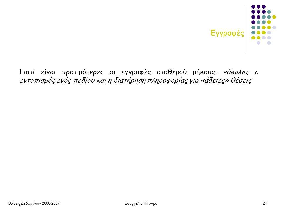 Βάσεις Δεδομένων 2006-2007Ευαγγελία Πιτουρά24 Εγγραφές Γιατί είναι προτιμότερες οι εγγραφές σταθερού μήκους: εύκολος ο εντοπισμός ενός πεδίου και η διατήρηση πληροφορίας για «άδειες» θέσεις