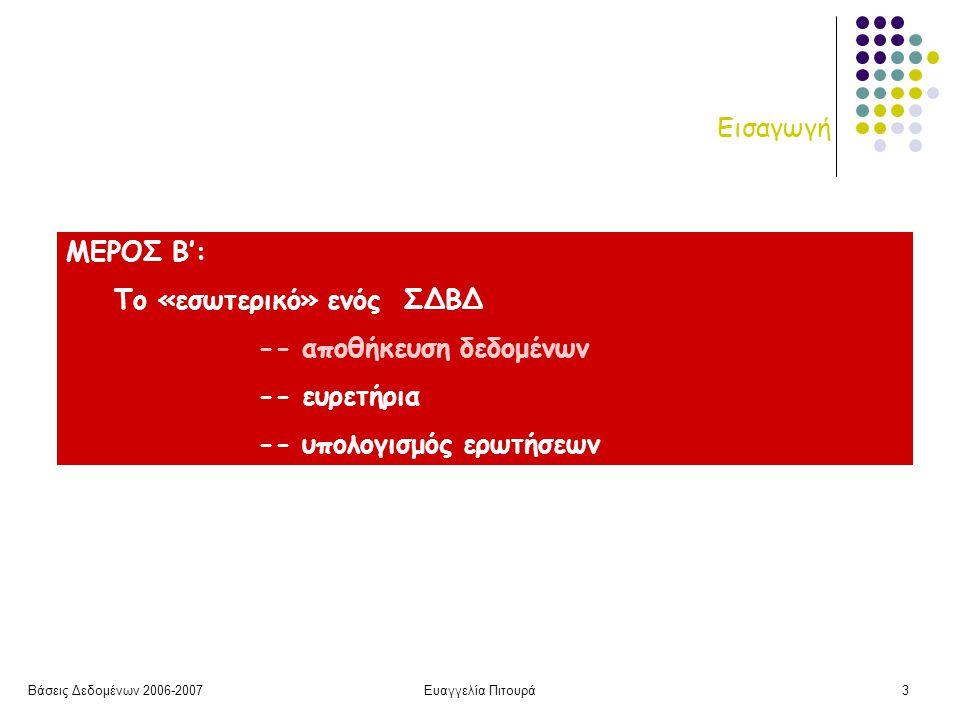 Βάσεις Δεδομένων 2006-2007Ευαγγελία Πιτουρά3 Εισαγωγή ΜΕΡΟΣ Β': Το «εσωτερικό» ενός ΣΔΒΔ -- αποθήκευση δεδομένων -- ευρετήρια -- υπολογισμός ερωτήσεων