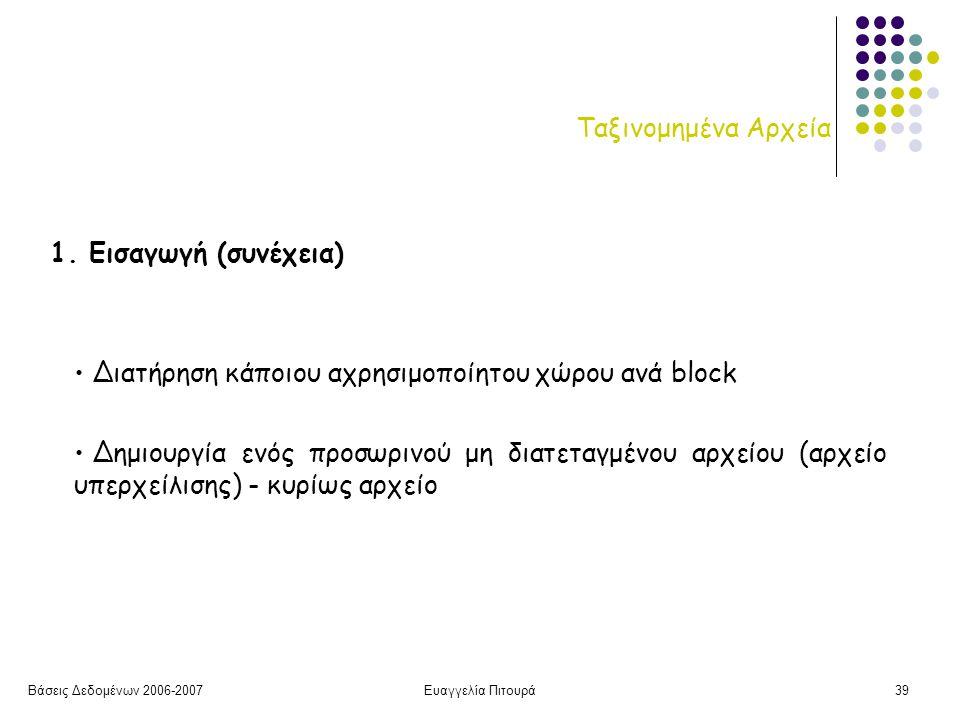 Βάσεις Δεδομένων 2006-2007Ευαγγελία Πιτουρά39 Ταξινομημένα Αρχεία 1.