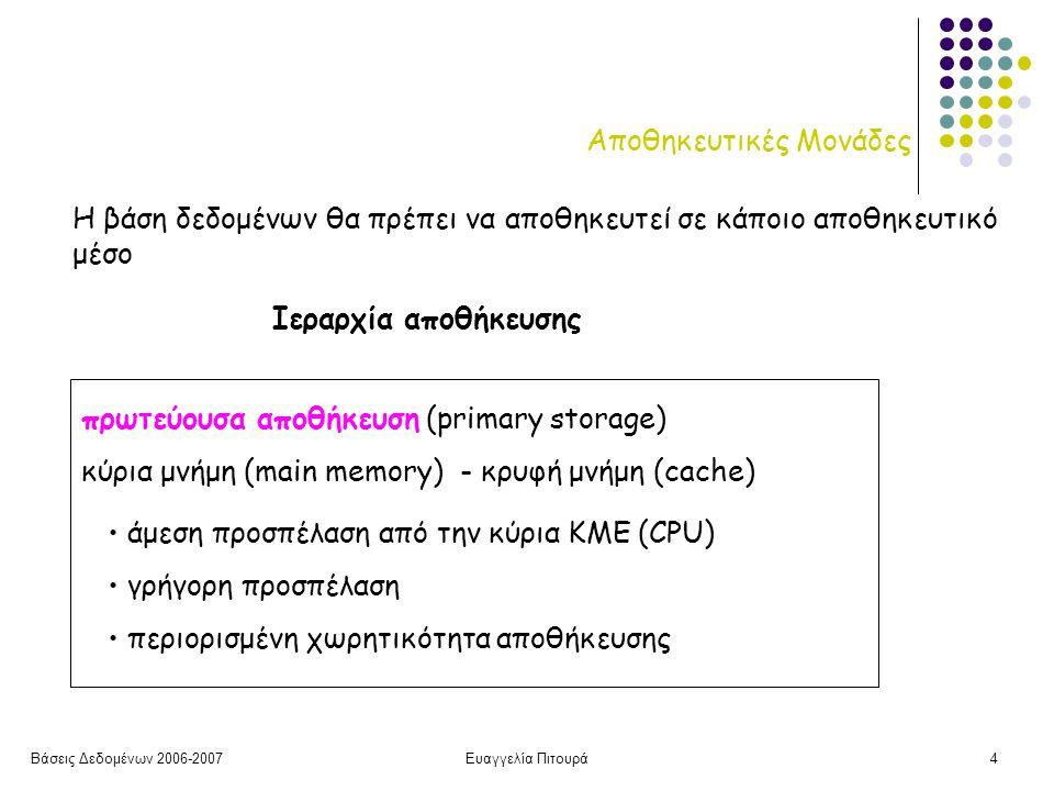 Βάσεις Δεδομένων 2006-2007Ευαγγελία Πιτουρά4 Αποθηκευτικές Μονάδες Η βάση δεδομένων θα πρέπει να αποθηκευτεί σε κάποιο αποθηκευτικό μέσο Ιεραρχία αποθήκευσης πρωτεύουσα αποθήκευση (primary storage) κύρια μνήμη (main memory) - κρυφή μνήμη (cache) άμεση προσπέλαση από την κύρια ΚΜΕ (CPU) γρήγορη προσπέλαση περιορισμένη χωρητικότητα αποθήκευσης