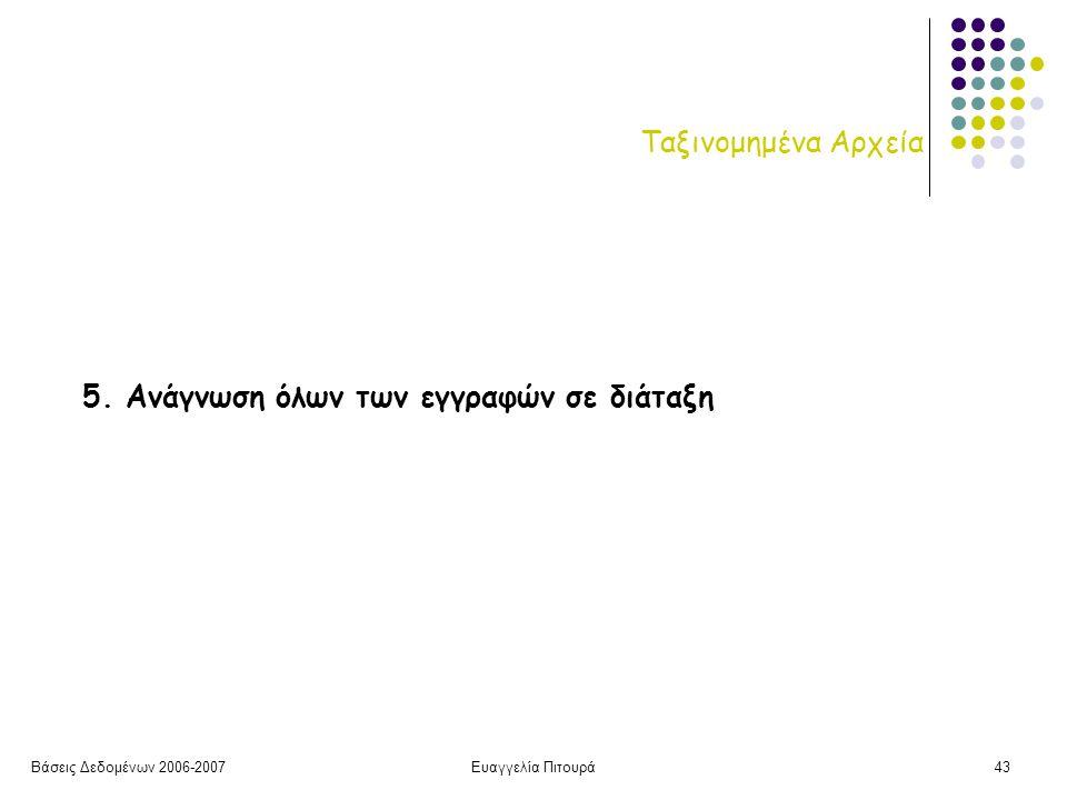 Βάσεις Δεδομένων 2006-2007Ευαγγελία Πιτουρά43 Ταξινομημένα Αρχεία 5.