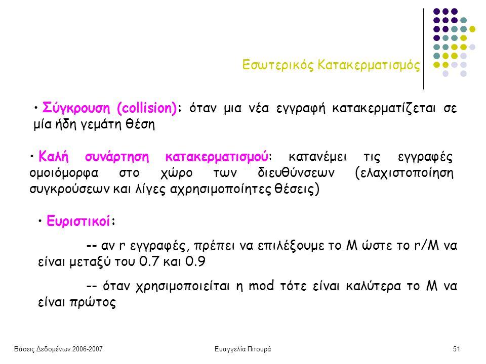 Βάσεις Δεδομένων 2006-2007Ευαγγελία Πιτουρά51 Εσωτερικός Κατακερματισμός Καλή συνάρτηση κατακερματισμού: κατανέμει τις εγγραφές ομοιόμορφα στο χώρο των διευθύνσεων (ελαχιστοποίηση συγκρούσεων και λίγες αχρησιμοποίητες θέσεις) Σύγκρουση (collision): όταν μια νέα εγγραφή κατακερματίζεται σε μία ήδη γεμάτη θέση Ευριστικοί: -- αν r εγγραφές, πρέπει να επιλέξουμε το Μ ώστε το r/M να είναι μεταξύ του 0.7 και 0.9 -- όταν χρησιμοποιείται η mod τότε είναι καλύτερα το Μ να είναι πρώτος