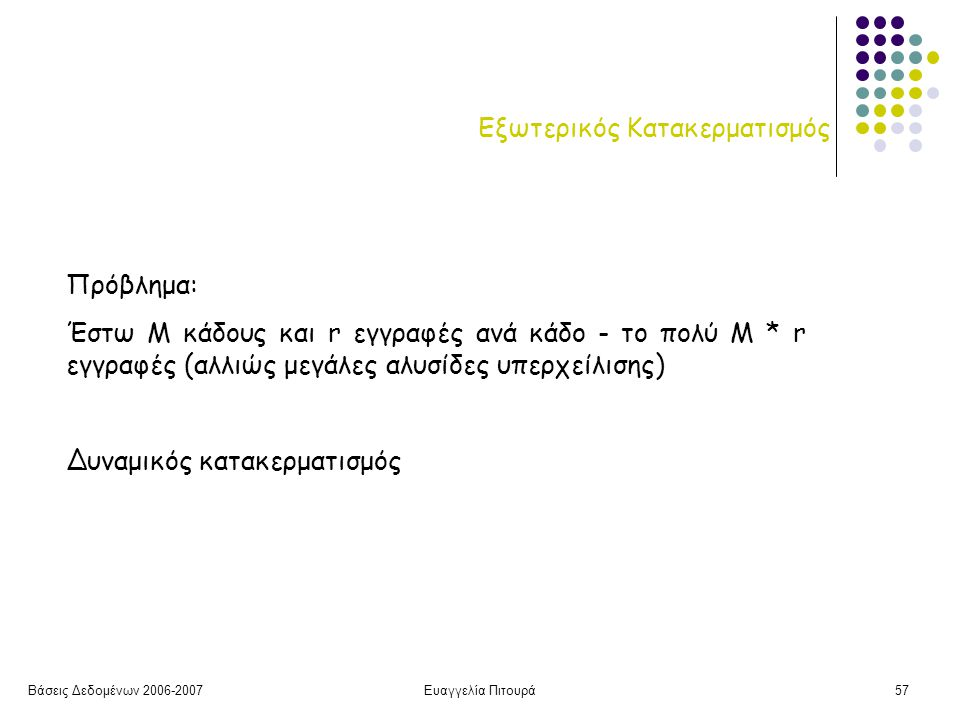 Βάσεις Δεδομένων 2006-2007Ευαγγελία Πιτουρά57 Εξωτερικός Κατακερματισμός Πρόβλημα: Έστω Μ κάδους και r εγγραφές ανά κάδο - το πολύ Μ * r εγγραφές (αλλιώς μεγάλες αλυσίδες υπερχείλισης) Δυναμικός κατακερματισμός