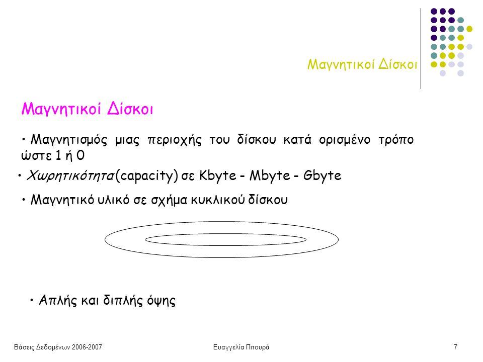 Βάσεις Δεδομένων 2006-2007Ευαγγελία Πιτουρά7 Μαγνητικοί Δίσκοι Μαγνητισμός μιας περιοχής του δίσκου κατά ορισμένο τρόπο ώστε 1 ή 0 Χωρητικότητα (capacity) σε Kbyte - Mbyte - Gbyte Μαγνητικό υλικό σε σχήμα κυκλικού δίσκου Απλής και διπλής όψης