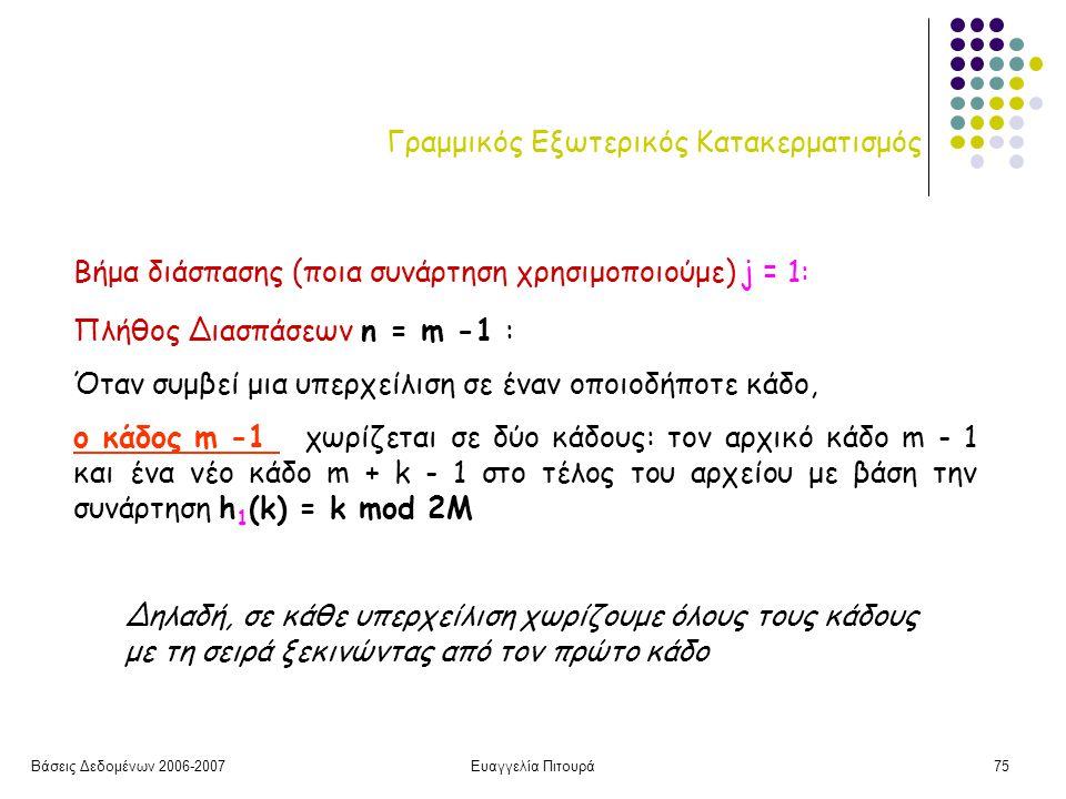 Βάσεις Δεδομένων 2006-2007Ευαγγελία Πιτουρά75 Γραμμικός Εξωτερικός Κατακερματισμός Πλήθος Διασπάσεων n = m -1 : Όταν συμβεί μια υπερχείλιση σε έναν οποιοδήποτε κάδο, ο κάδος m -1 χωρίζεται σε δύο κάδους: τον αρχικό κάδο m - 1 και ένα νέο κάδο m + k - 1 στο τέλος του αρχείου με βάση την συνάρτηση h 1 (k) = k mod 2M Βήμα διάσπασης (ποια συνάρτηση χρησιμοποιούμε) j = 1: Δηλαδή, σε κάθε υπερχείλιση χωρίζουμε όλους τους κάδους με τη σειρά ξεκινώντας από τον πρώτο κάδο