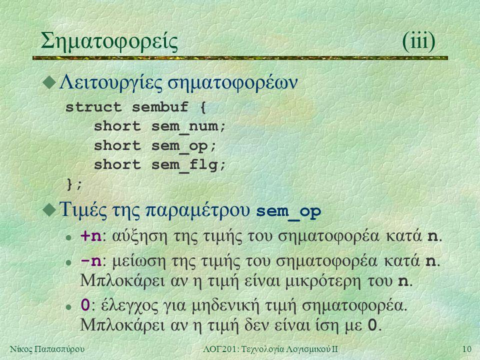 10Νίκος ΠαπασπύρουΛΟΓ201: Τεχνολογία Λογισμικού ΙΙ Σηματοφορείς(iii) u Λειτουργίες σηματοφορέων struct sembuf { short sem_num; short sem_op; short sem_flg; };  Τιμές της παραμέτρου sem_op +n : αύξηση της τιμής του σηματοφορέα κατά n.