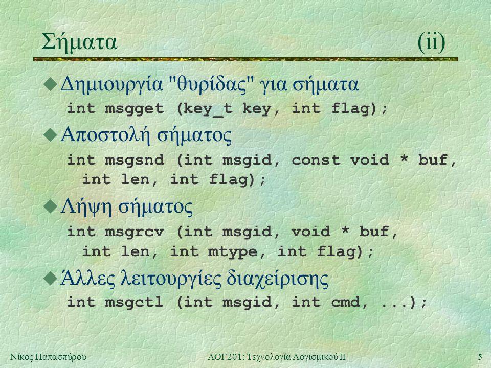 5Νίκος ΠαπασπύρουΛΟΓ201: Τεχνολογία Λογισμικού ΙΙ Σήματα(ii) u Δημιουργία θυρίδας για σήματα int msgget (key_t key, int flag); u Αποστολή σήματος int msgsnd (int msgid, const void * buf, int len, int flag); u Λήψη σήματος int msgrcv (int msgid, void * buf, int len, int mtype, int flag); u Άλλες λειτουργίες διαχείρισης int msgctl (int msgid, int cmd,...);