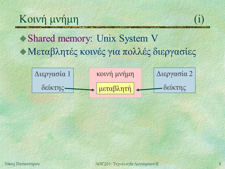 6Νίκος ΠαπασπύρουΛΟΓ201: Τεχνολογία Λογισμικού ΙΙ Κοινή μνήμη(i) u Shared memory: Unix System V u Μεταβλητές κοινές για πολλές διεργασίες κοινή μνήμη Διεργασία 1 δείκτης Διεργασία 2 δείκτης μεταβλητή