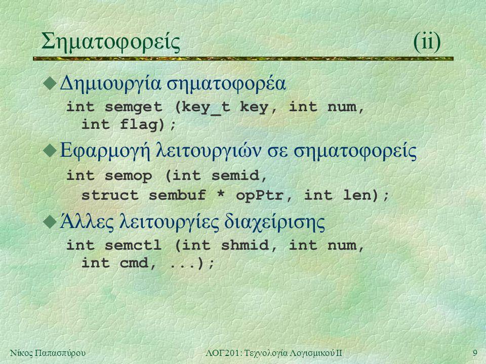 9Νίκος ΠαπασπύρουΛΟΓ201: Τεχνολογία Λογισμικού ΙΙ Σηματοφορείς(ii) u Δημιουργία σηματοφορέα int semget (key_t key, int num, int flag); u Εφαρμογή λειτουργιών σε σηματοφορείς int semop (int semid, struct sembuf * opPtr, int len); u Άλλες λειτουργίες διαχείρισης int semctl (int shmid, int num, int cmd,...);