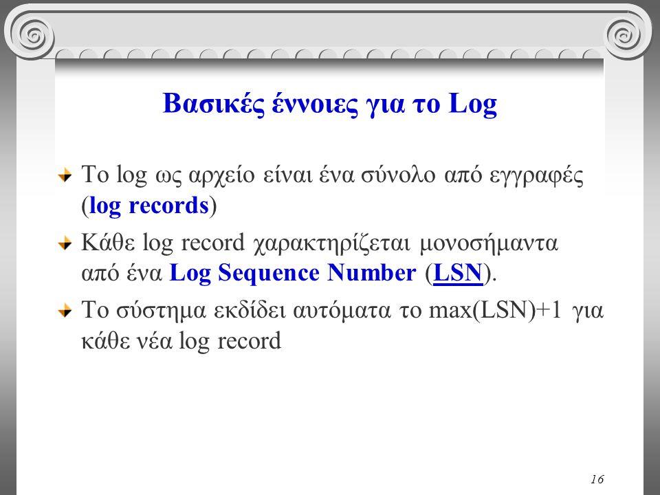 16 Βασικές έννοιες για το Log Το log ως αρχείο είναι ένα σύνολο από εγγραφές (log records) Κάθε log record χαρακτηρίζεται μονοσήμαντα από ένα Log Sequence Number (LSN).