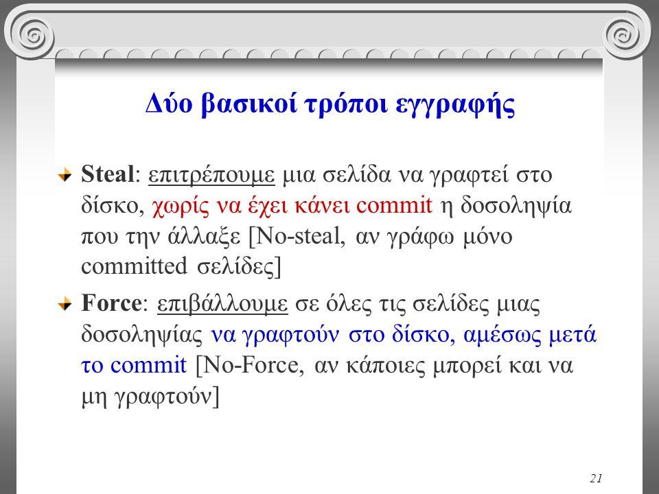 21 Δύο βασικοί τρόποι εγγραφής Steal: επιτρέπουμε μια σελίδα να γραφτεί στο δίσκο, χωρίς να έχει κάνει commit η δοσοληψία που την άλλαξε [No-steal, αν γράφω μόνο committed σελίδες] Force: επιβάλλουμε σε όλες τις σελίδες μιας δοσοληψίας να γραφτούν στο δίσκο, αμέσως μετά το commit [No-Force, αν κάποιες μπορεί και να μη γραφτούν]