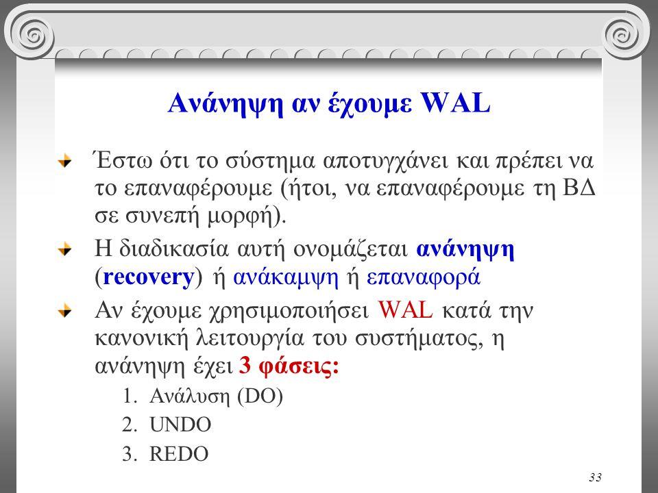 33 Ανάνηψη αν έχουμε WAL Έστω ότι το σύστημα αποτυγχάνει και πρέπει να το επαναφέρουμε (ήτοι, να επαναφέρουμε τη ΒΔ σε συνεπή μορφή).