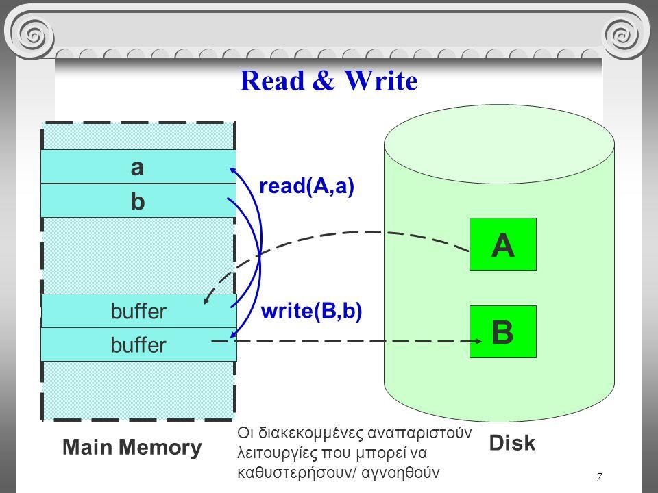 7 Read & Write Main Memory a Disk B b read(A,a) write(B,b) buffer A Οι διακεκομμένες αναπαριστούν λειτουργίες που μπορεί να καθυστερήσουν/ αγνοηθούν