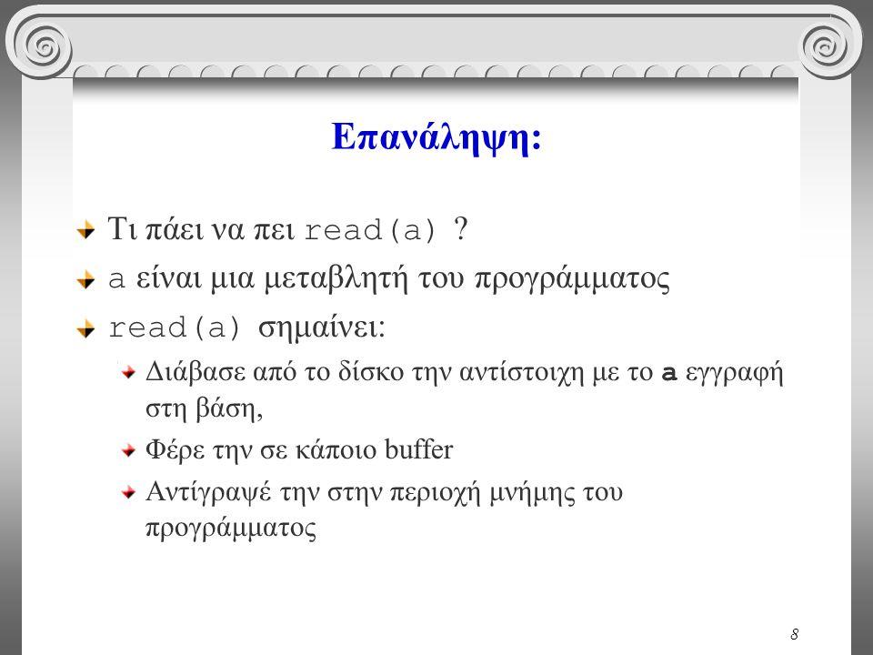 8 Επανάληψη: Τι πάει να πει read(a) ? a είναι μια μεταβλητή του προγράμματος read(a) σημαίνει: Διάβασε από το δίσκο την αντίστοιχη με το a εγγραφή στη