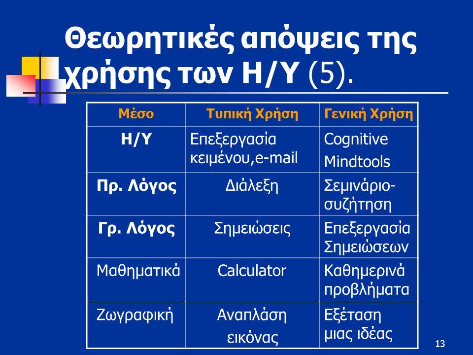 13 Θεωρητικές απόψεις της χρήσης των Η/Υ (5).