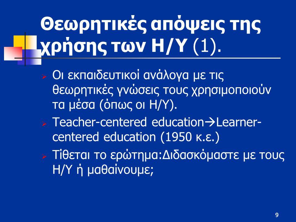 9 Θεωρητικές απόψεις της χρήσης των Η/Υ (1).  Οι εκπαιδευτικοί ανάλογα με τις θεωρητικές γνώσεις τους χρησιμοποιούν τα μέσα (όπως οι Η/Υ).  Teacher-