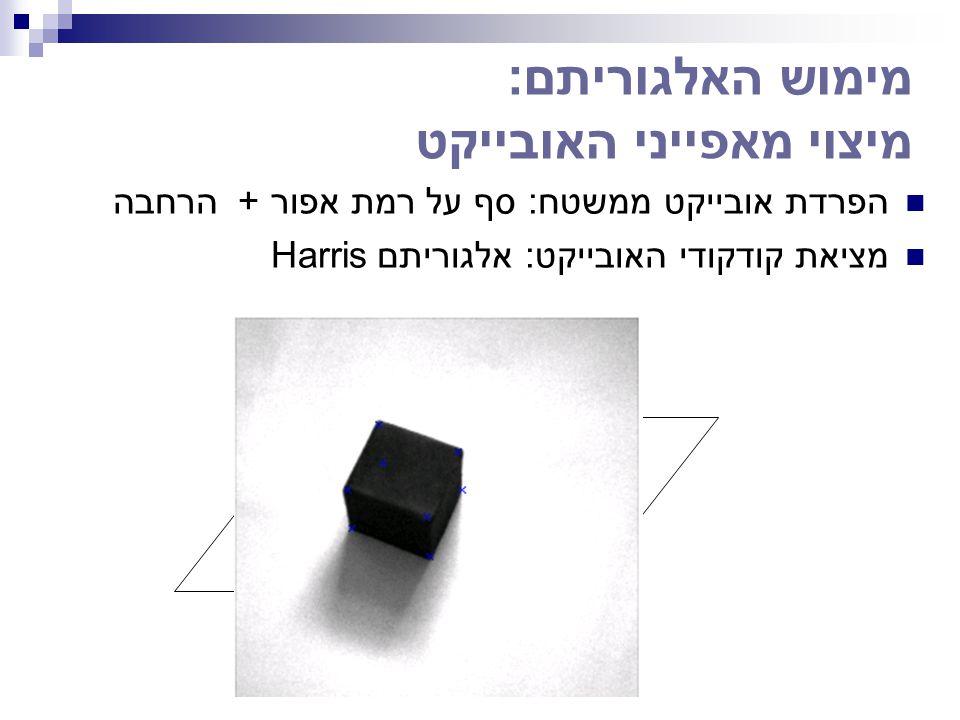 מימוש האלגוריתם: מיצוי מאפייני האובייקט הפרדת אובייקט ממשטח: סף על רמת אפור + הרחבה מציאת קודקודי האובייקט: אלגוריתם Harris